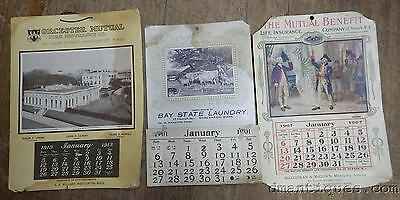 1901/1907/1913 Calendars WORCESTER Mutual Fire Insurance Bay State Laundry