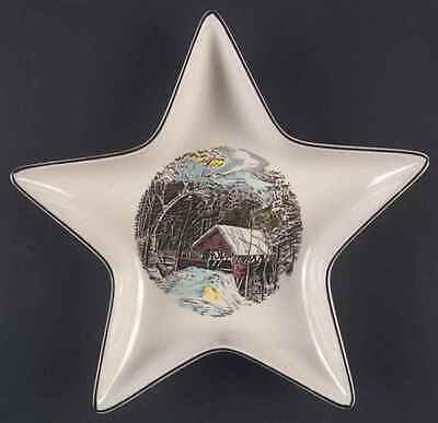 Johnson Brothers THE FRIENDLY VILLAGE Covered Bridge Star Shaped Dish 6503204