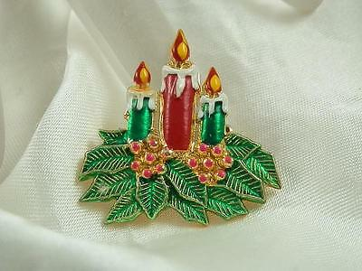Vintage 1970s Enamel Holiday Candles & Holly Brooch Very Cute  1012A4