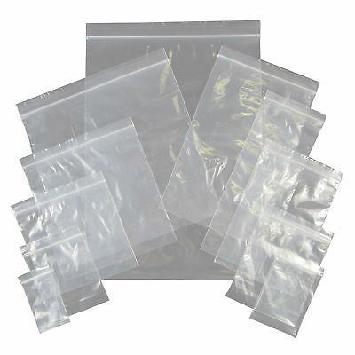 Grip Seal Self Resealable Clear Polythene Plastic Bags - Many Sizes & Quantities