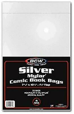 75 BCW Silver Age Comic Book 4 Mil Mylar Bags - Acid Free Archival mylars