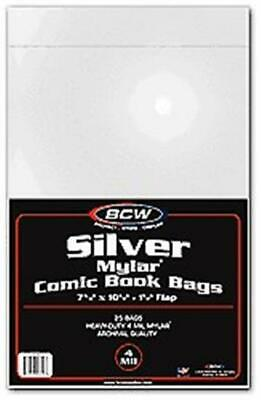 Pack of 25 BCW Silver Age Comic Book 4 Mil Mylar Bags - Acid Free Archival