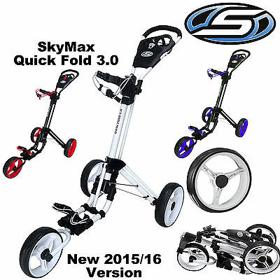 Skymax Quick Fold Golf Trolley 3 Wheel Push Golf Trolley 3.0 *new* Black, White