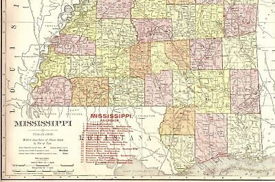 1907 RARE MISSISSIPPI Map with RAILROADS Rare Size Map of Mississippi State Map