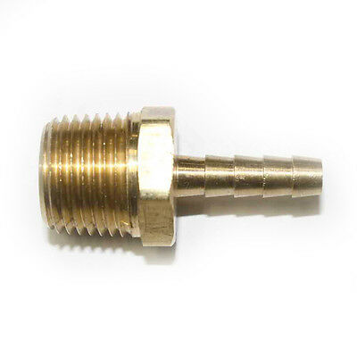 """Brass Hose Barb Fitting, Connector, 1/4"""" Barb X 1/2"""" NPT Male End - FM84"""