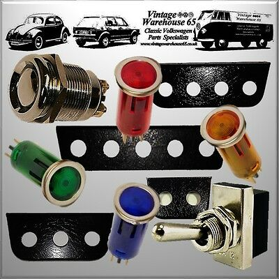 Classic Car 12v Dashboard Warning Lights, Stainless Steel & Chrome Switch's