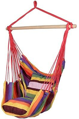Deluxe Hanging Rope Chair Outdoor Porch Swing Yard Tree Hammock Cotton Polyester