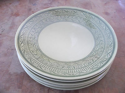 """Taylor Smith & T S T OASIS GREEN  Shades Of Grandeur 6-10"""" Dinner Plates USA euc"""