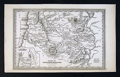 1850 Starling Map - Issachar & Manassem Tribes - Israel Old Testament Bible