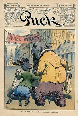 Wall Street Republican Elephant And Democratic Donkey Seeking Campaign Funds