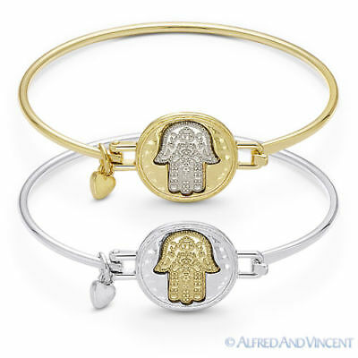 Hamsa Hand of Fatima Evil Eye Luck Heart Charm Judaica Kabbalah Bangle Bracelet