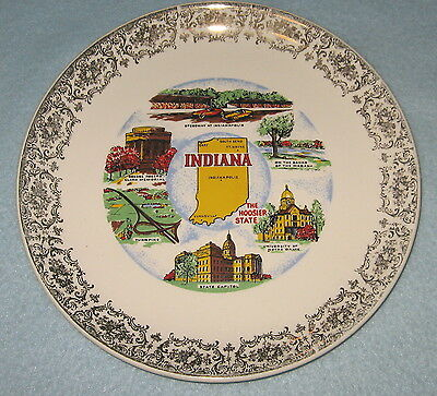 Souvenir Plate  INDIANA THE HOOSIER STATE