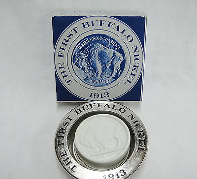 Avon 1913 Buffalo Nickel Clint Soap for Men and Silvertone Dish with Box Unused
