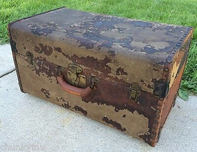 ANTIQUE SUPER SHABBY SMALL STEAMER LUGGAGE TRUNK CHEST VICTORIAN STEAMPUNK PROP