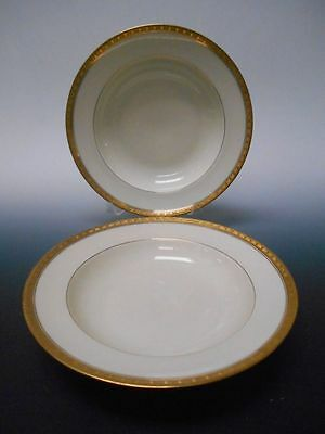 """Black Knight Hutschenreuther TRIANON Set of 2 Soup Pasta Bowls 8 1/2"""" Wide"""