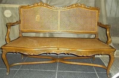 Vintage French Style Cane Settee/Bench