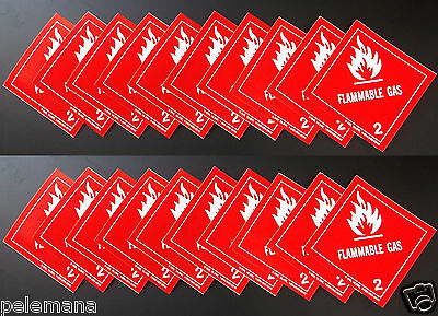 "TWENTY Labels FLAMMABLE GAS 2 Red/White 4"" x 4"" Self Adhesive Paper Sticker NEW"