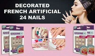 Perfect10 24 French Nails Art Tips Glitter Manicure Quick & Easy