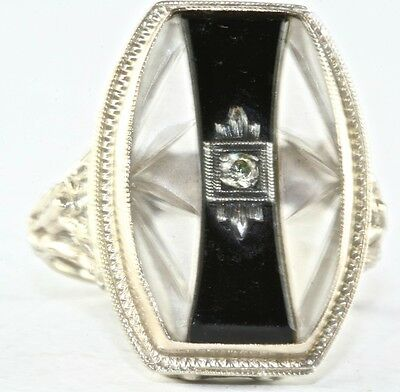 Art Deco Antique 14K White Gold Carved Camphor Glass Onyx Diamond Ring