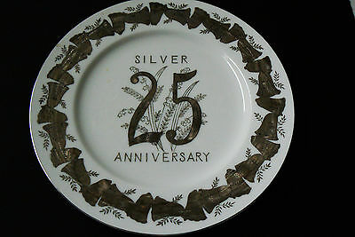 Norcrest Japan Porcelain Fine China 25th Anniversary Plate Silver Bells & Lilly