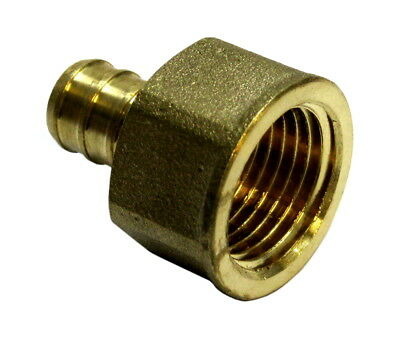 "1/2"" Pex Female Adapter NPT 1/2 inch Brass (pack of 3) Threaded Crimp Fitting"