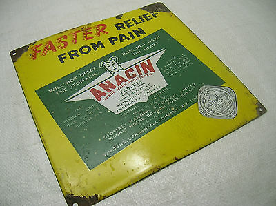 Enamel Sign ANACIN TABLETS Advertising VINTAGE #135