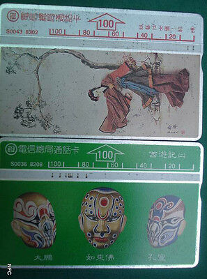 Thailand - 2 Old Phonecards - Masks - Painting - A080