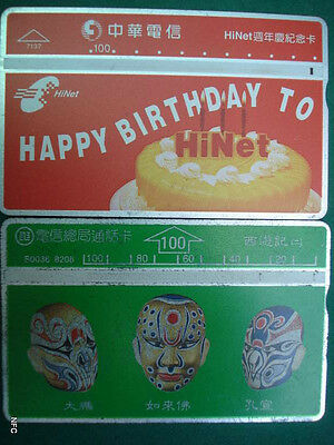 Thailand - 2 Old Phonecards - Masks - Happy Birthday - A081