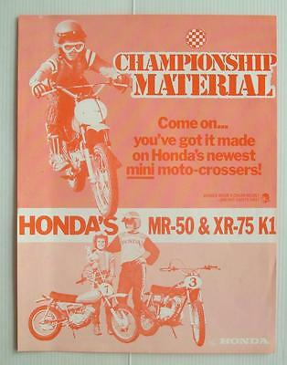 HONDA MINI MOTO-CROSSERS Motorcycle Sales Sheet 1974 - MR-50 & XR-75 K1