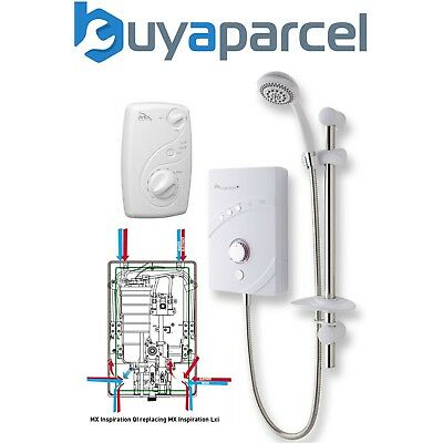 MX INSPIRATION QI 8.5kw Electric Shower White Chrome Multi Entry Replaces LXI