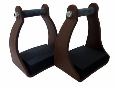 Plastic Stirrups Trail Endurance Horse Riding 2.5 Inch Neck Foam Pad Brown