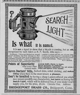 Bicycle Light Lantern Burns Kerosene Oil Search Light Bridgeport Brass Company