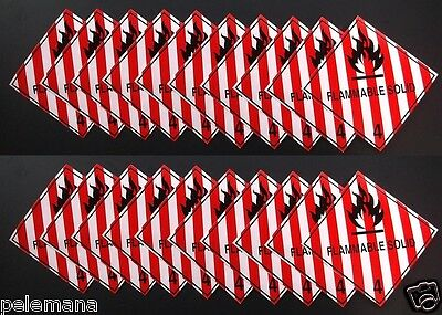 "20 (Twenty Labels) FLAMMABLE SOLID Red/White 4"" x 4"" Adhesive Paper Sticker NEW"