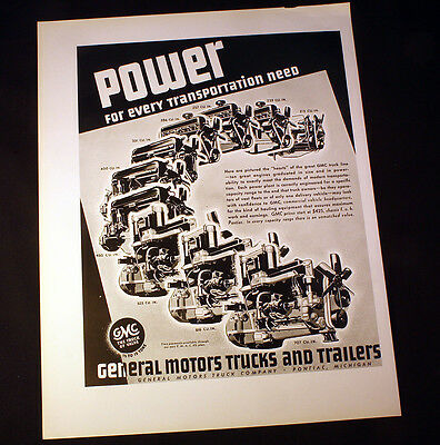 1936 Ad GMC General Motors Trucks & Trailers Power For Every Transportation Need