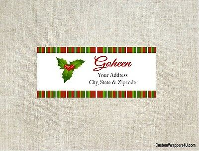 Christmas Holiday Holly Return Address Labels Personalized