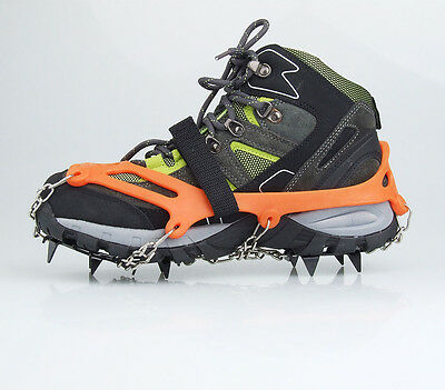 Pair 12-Teeth Ice Boot Shoe Cover Spike Cleats Crampons Gripper Climbing Orange