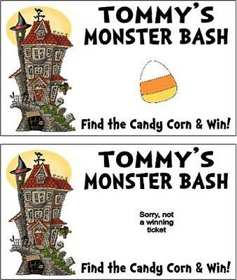 Halloween Monster Mash Party Scratch Off Tickets Game Cards Favors Personalized