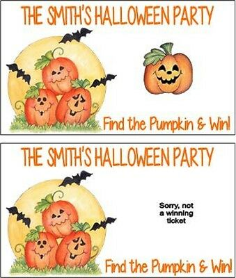 Halloween Pumpkins Party Scratch Off Tickets Game Cards Favors Personalized