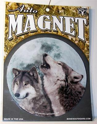 "Howling Wolf Pair Gray Wolves Large 5.5"" Magnet Car Fridge Truck Gift Wildlife"