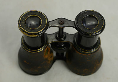 19thC Lemaire Field Glasses Small Binoculars Black Toned Brass Paris Hunting