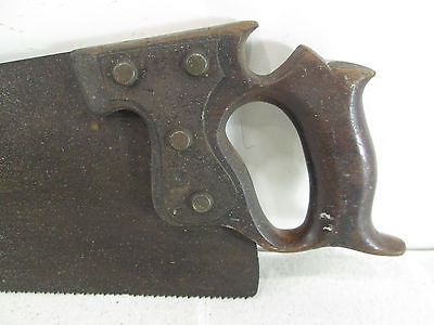 Antique Unmarked Hand Saw w/ Metal Plate and Floral Saw Nuts for Parts