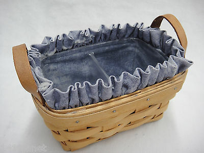 Longaberger Tea Basket w Blue Fabric Liner and Divided Plastic Protector 1999