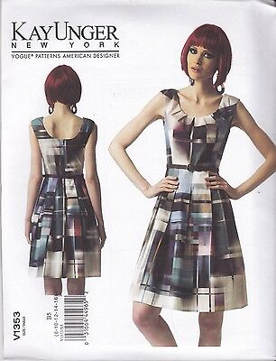 Vogue  Sewing Pattern Misses' Kay Unger New York Lined Dress Sizes 8 - 24 V1353
