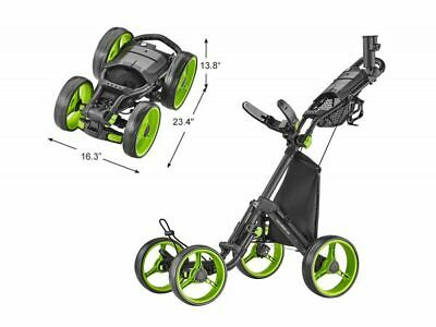 Caddytek Quad Quickfold 4 Rad Push Trolley Pushtrolley 4wheel schwarz Räder grün