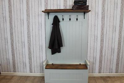 Handmade 4Ft Pine Coat Rack Bench Hall Seat With Reclaimed Pine Seat And Storage