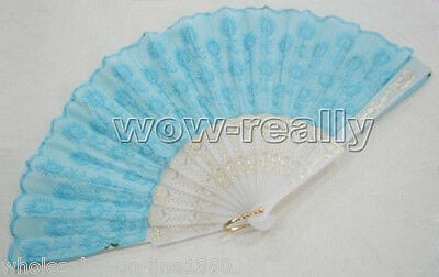 2014 New Sky blue Sequins peacock tail pattern Folding Hand Fan For Gift