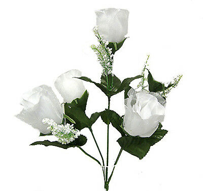 5 Roses ~ WHITE ~ Silk Wedding Flowers Bouquets Centerpieces Bridal Artificial