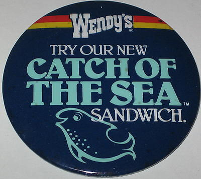 "Wendy's ""Try Our New Catch of the Sea Sandwich"" Employee Pin 3"" Has Spots"