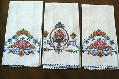 VTG lot of 3 Hand made Floral pattern Linen Embroidery tea towel Cloth Placemat