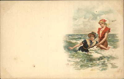 Bathing Beauties Play in Waves Lesbian Overtones? c1900 French Postcard